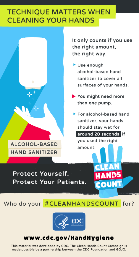 """Technique matters when cleaning your hands"" describing the right amount and right way of using alcohol-based hand sanitizer with an image of a hand under a sanitizer dispenser."