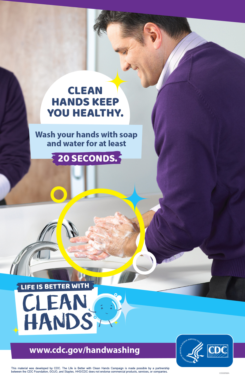 A man washing his hands in a bathroom and a reminder to make handwashing a healthy habit.