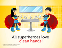 superhero poster featuring a boy and girl with asian features