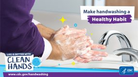 Close-up of a man washing his hands in a bathroom and a reminder to make handwashing a healthy habit.