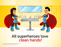 superhero poster featuring a boy and girl with hispanic features