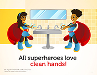 superhero poster featuring a boy and girl with african-american features