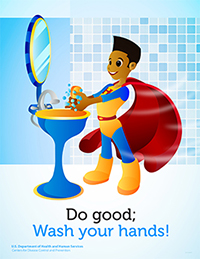 superhero poster featuring a boy with dark skin color