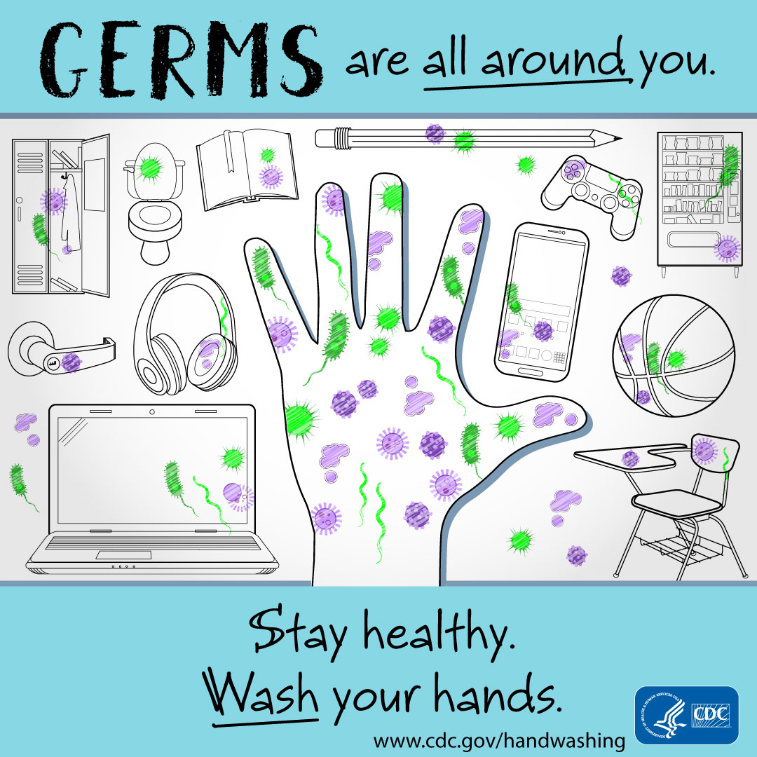 Germs are all around you. Stay healthy. Wash your hands. - Instagram
