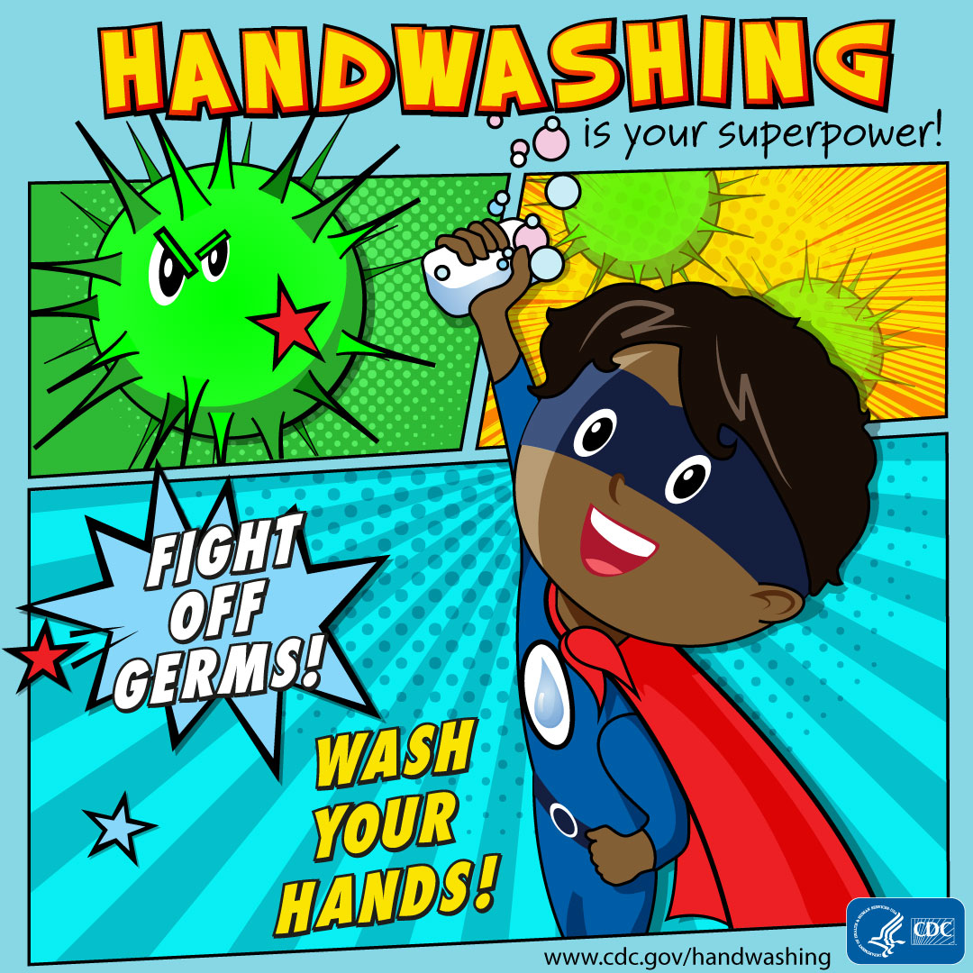 Handwashing is your superpower! Fight off germs! Wash your hands! A boy as the superhero for Instagram.