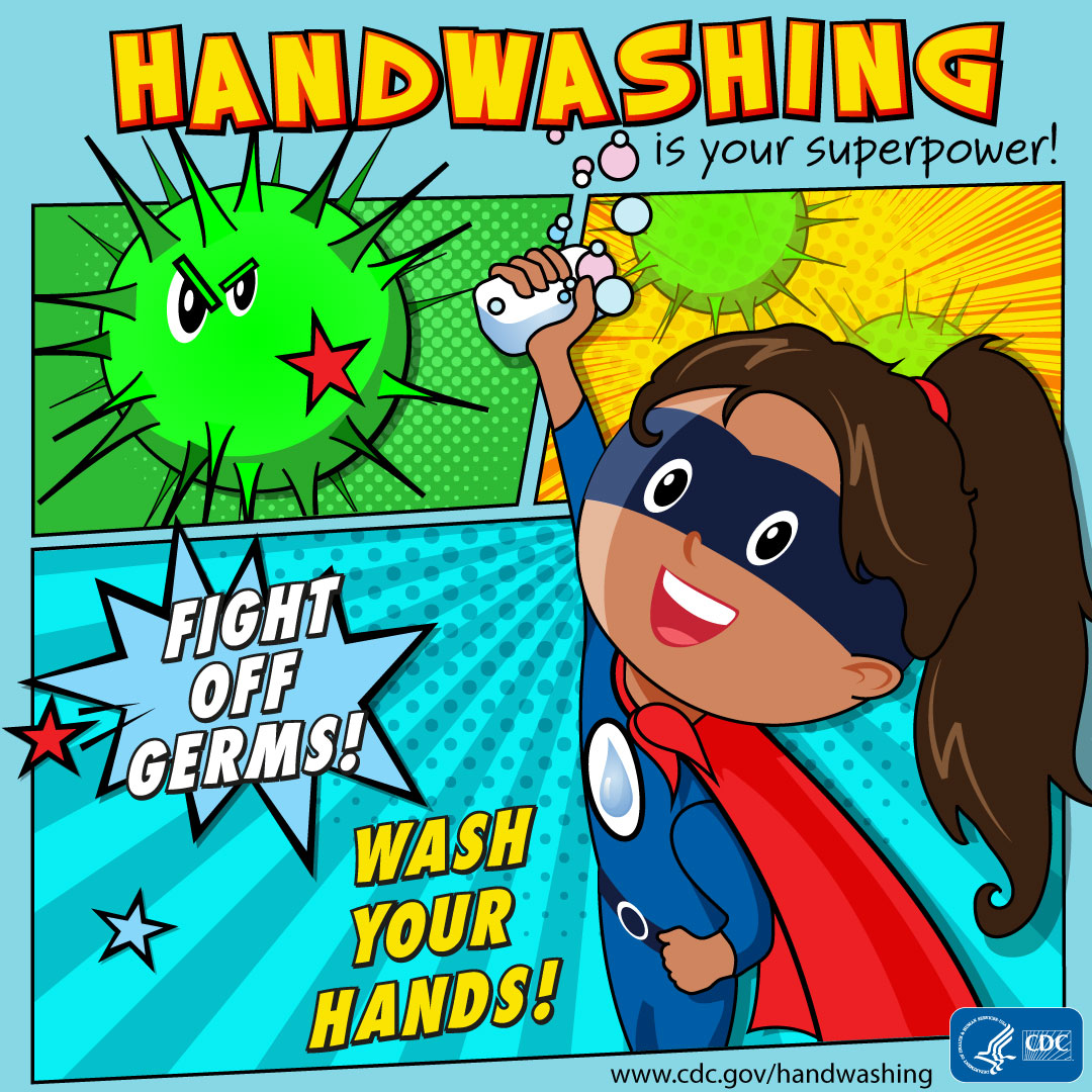 Handwashing is your superpower! Fight off germs! Wash your hands! A girl as the superhero for Instagram.