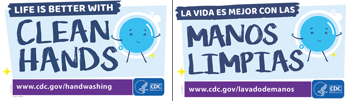 Handwashing Stickers in english and spanish