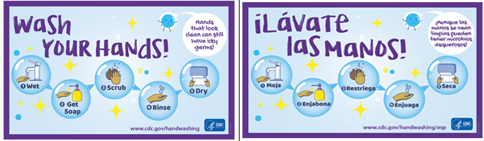 Two wash your hands stickers in english and spanish