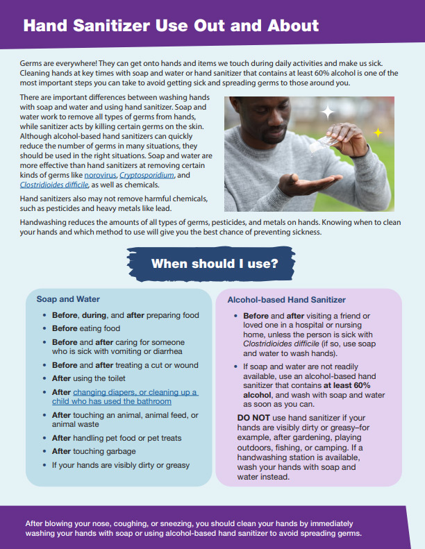Hand Sanitizer Use Out and About - PDF thumbnail