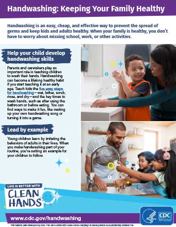 Thumbnail image of downloadable 'Handwashing: Keeping Your Family Healthy' PDF file
