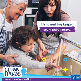 Close-up of a mother and grandmother teachinging her child to wash his hands and a reminder to teach kids handwashing habits.