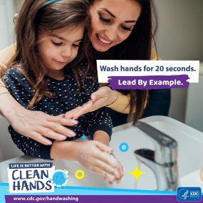 Close-up of a mother helping her daughter wash her hands and a reminder to teach kids handwashing habits.
