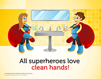 superhero poster featuring a boy and girl with caucasian features