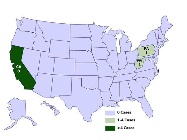 A map of the United States depicting case counts of hantavirus infection in people who recently visited Yosemite National Park, by state of residence