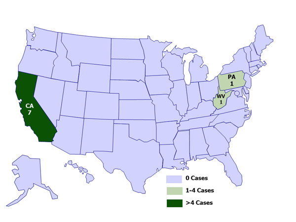 September 13, 2012: A map of the United States depicting case counts of hantavirus infection in people who recently visited Yosemite National Park, by state of residence
