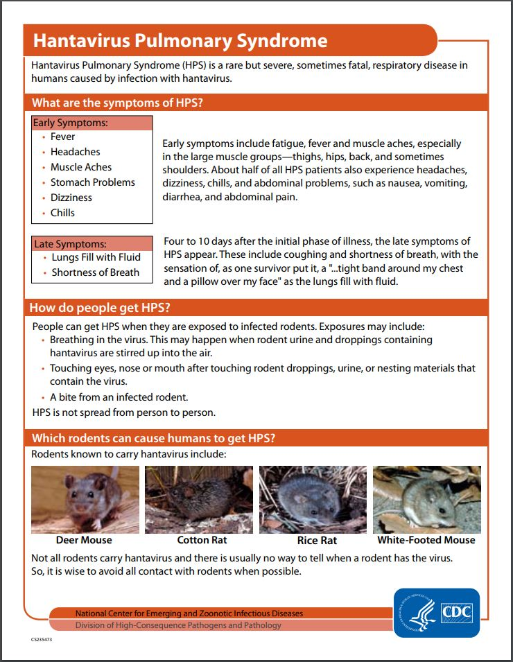 Hantavirus Pulmonary Syndrome Fact Sheet