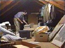 man cleaning attic space