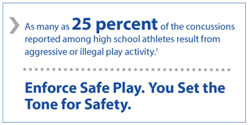 As many as 25% of the concussions reported among high school athletes result from aggressive or illegal play activity. Enforce safe play. You set the tone for safety.