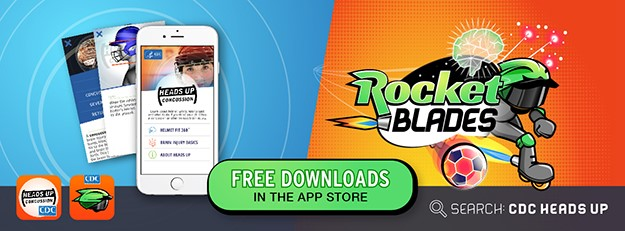 HEADS UP Apps: Helmet App & Rocket Blades. Free downloads in the app store. Search: CDC HEADS UP