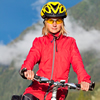 Girl mountain biker with a helmet