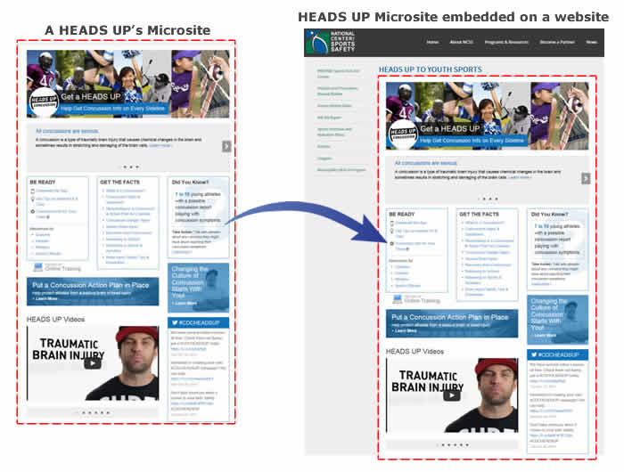 An example of a HEADS UP microsite embedded on a partner's website