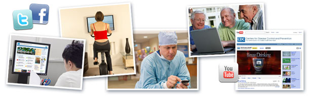 Images of people viewing computer monitor, exercising, medical professional, older men viewing computer.
