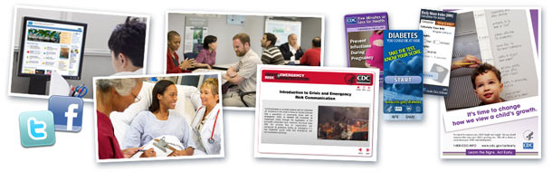 Visual images of social marketing and health communication tools, materials asnd health professionals.
