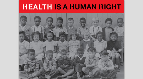 vintage image of diverse group of children with caption Health is a Human Right