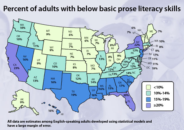 Map percent of adults with below basic prose literacy skills