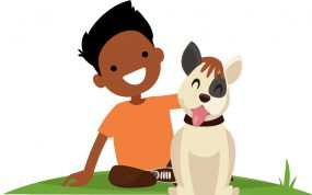 Illustration of boy petting a dog.