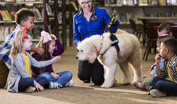 Children in library with reading assistance dog
