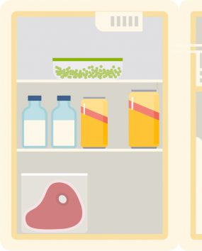Illustration of refrigerator with raw food.