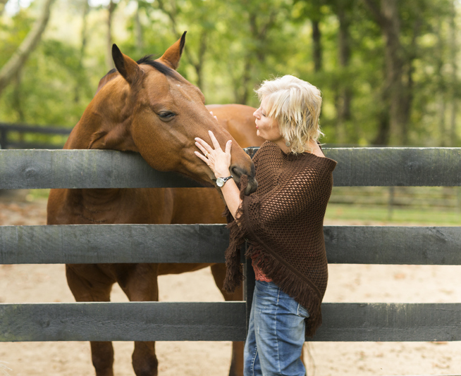 Blonde woman touches thoroughbred horse