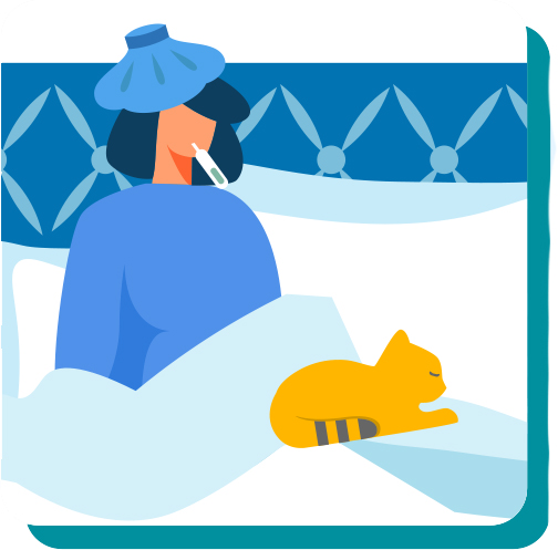 Illustration of a sick woman with her cat