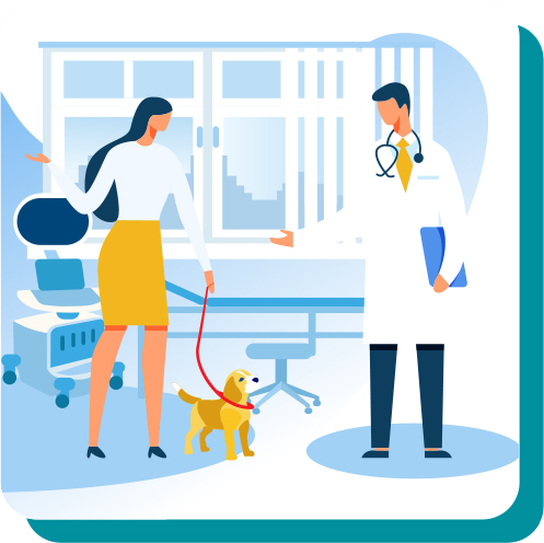 Illustration of a woman bringing her dog into a vet clinic