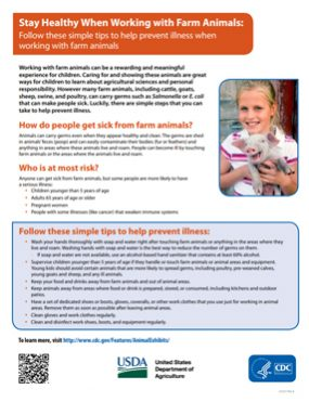 Publications flyer cover for Stay Healthy When Working With Farm Animals