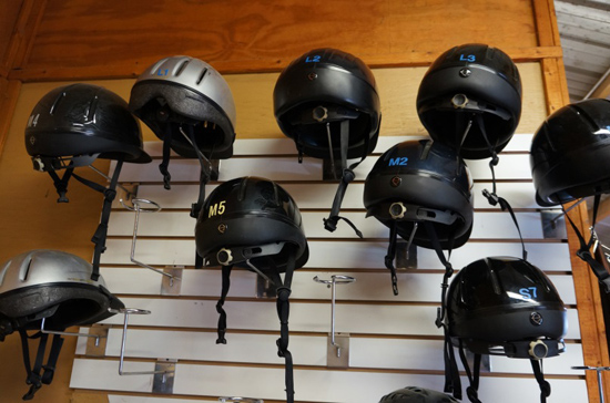 riding helmets hanging on a wall