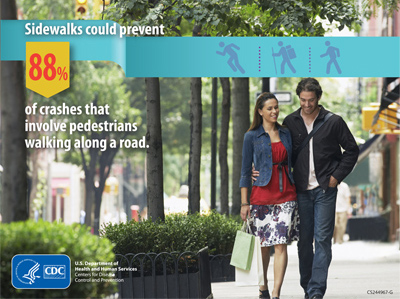 Sidewalks could prevent crashes that involve pedestrians walking along a road.