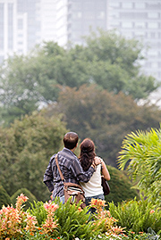 Couple in urban public park