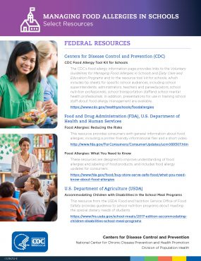 cover of Managing Food Allergies in Schools Resources