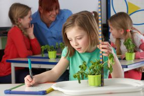Girl measuring her plant's growth and taking notes.