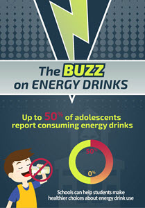 Energy beverages are associated with health concerns including dehydration, irregular heartbeat, and insomnia, and should not be promoted in schools. Children aged 12–18 should not consume more than 100 milligrams of caffeine/day. Parents, teachers, and other school staff can educate students about the dangers of these drinks.