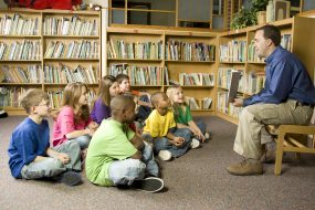 Parent reading during story time