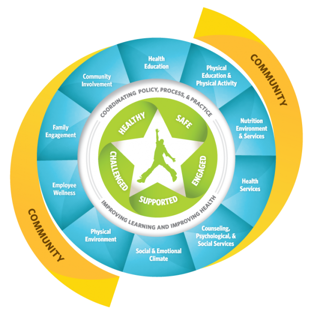 Illustration showing a child within the Whole School, Whole Community, Whole Child Model (WSCC) which is a unified and collaborative approach to learning and health.