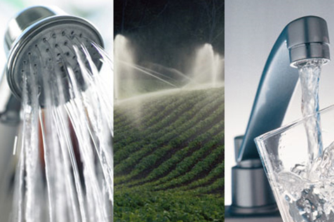Photo illustration showing water coming out of a faucet and a showerhead.