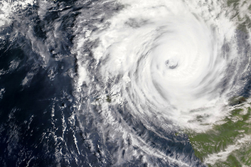 satellite image of a hurricane from space