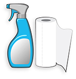 disinfect the area with cleaner and paper towels