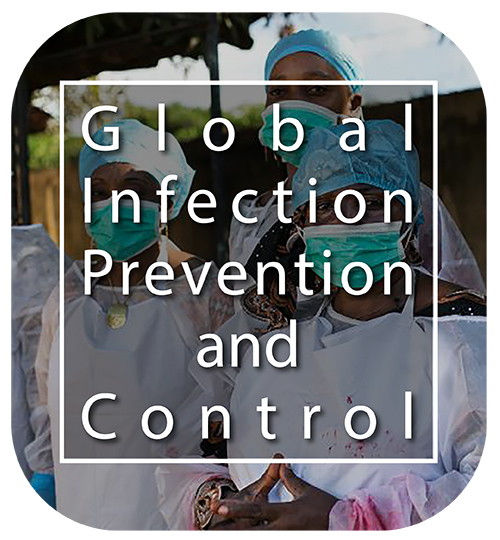 Global Infection Prevention and Control button with healthcare workers in the background.