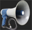 side view of a blue and white megaphone
