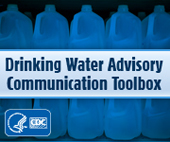 Drinking Water Advisory Communications Toolbox logo featuring water jugs